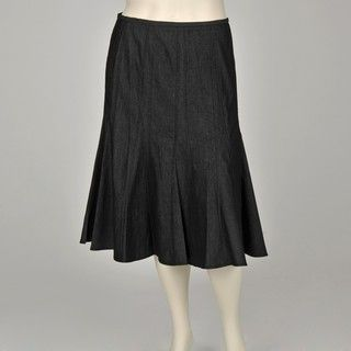 Larry Levine Womens Plus Size Denim Flared Skirt