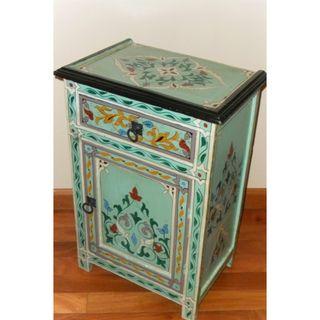 Handpainted Aqua Multicolor Moroccan Arabesque Wooden End Table