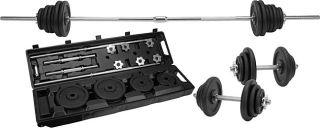 110 pound Black Barbell Set with Roller Case