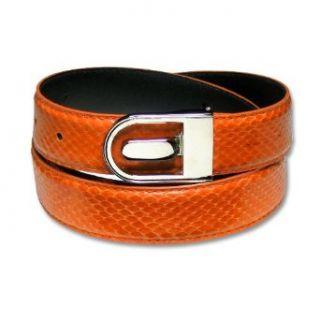 Orange Genuine Snake Skin Bonded Leather Belt   Regular sz