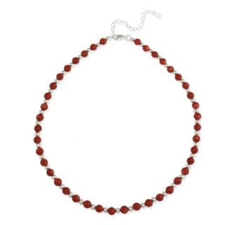Stonique Creations Sterling Silver Sea Bamboo Coral Bead Necklace
