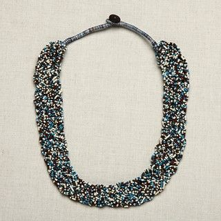 Brown, White and Blue Braided Glass Bead Necklace (India)