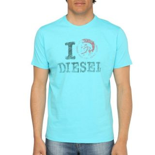 DIESEL T Shirt Ilove Homme Turquoise   Achat / Vente T SHIRT DIESEL T
