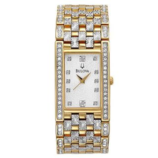 Bulova Mens Crystal Two tone Steel Quartz Crystal Watch