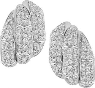 18k White Gold 3ct TDW Diamond Three Row Earrings