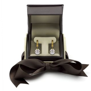DaVonna 14k Gold White Cultured Pearl Leverback Earring with Gift Box