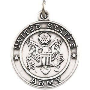 US Army Sterling Silver St Michael Protect Us Necklace, 24