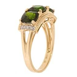 Yach 14k Yellow Gold Chrome Diopside and Diamond Accent Ring
