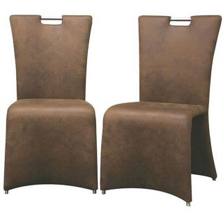 Brown Faux Suede Elegant Dining Chairs (Set of 2)