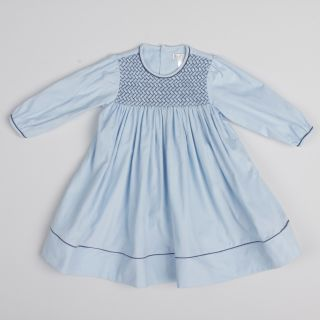 Petit Ami Toddler Girls Blue Smocked Collar Dress FINAL SALE Was $43