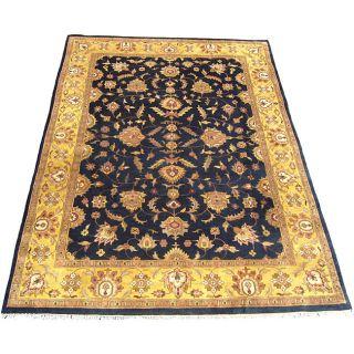 Indo Mahal Black/ Gold Rug (86 x 121)