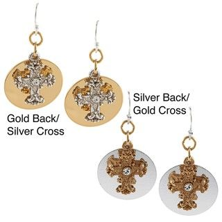 Vatican Two tone Crystal Cross Round Earrings by 1928 Jewelry