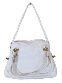 BESSO White Leather Luxury Italian Shoulder Bag Handbag