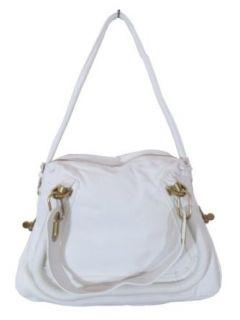 BESSO White Leather Luxury Italian Shoulder Bag Handbag