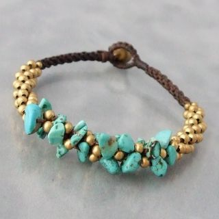Brass Beads and Turquoise Cluster Boho Jingle Bell Bracelet (Thailand