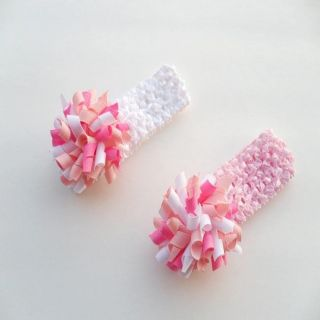 Bow Clippeez 2 Envy Crochet Pink/ White Headband and Curly Hair Clip