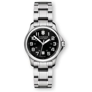 Swiss Army Womens Officers Black Dial Watch