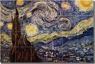 The Starry Night by Vincent van Gogh   Impressionist Art Ceramic Tile
