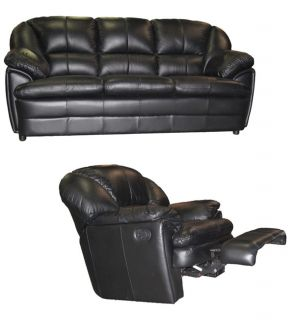 Black Leather Sofa and Reclining Rocking Chair Set