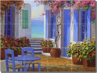 Essence of Greece by Mikki Senkarik   Artwork On Tile Ceramic Mural