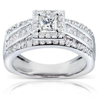 Anillo de compromiso de oro blanco 14k y diamante, 1 1/5k de peso