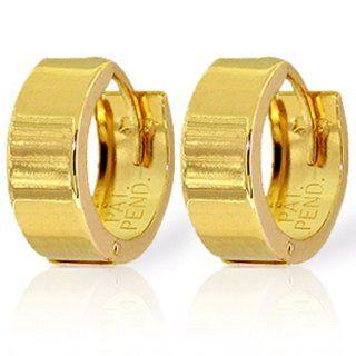 14k Solid Gold Plain Huggie Earrings Jewelry
