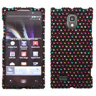 Rainbow Dots Black Rhinestone Diamond Bling Crystal