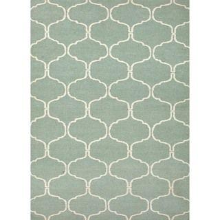 Handmade Geometric Flat Weave Blue Wool Rug (5 x 8)