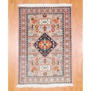 Persian Hand knotted Tabriz Peach/ Beige Wool Rug (45 x 64