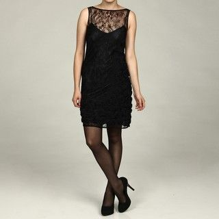 Jessica Simpson Womens Black/ Blue Lace Dress