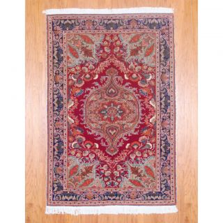 Afghan Hand knotted Vegetable Dye Red/ Blue Wool Rug (410 x 73