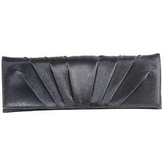Carlo Fellini Pewter Pleated Sunburst Clutch Handbag