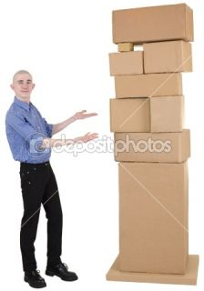 Man showing on pile cardboard boxes  Stock Photo © pz.axe #1022327