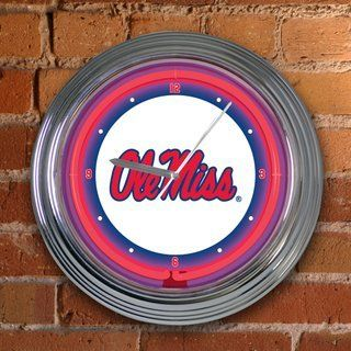 MISSISSIPPI OLE MISS REBELS Team Logo 15 NEON WALL CLOCK