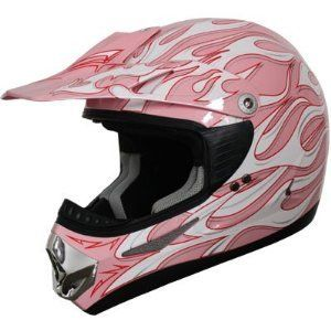 ATV Motocross Helmet Flame 185 Pink (Sm)    Automotive