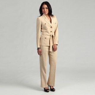 Kasper Womens Khaki Three button Pant Suit