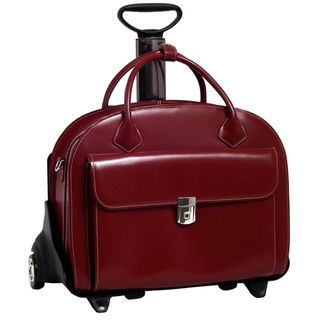 McKlein Red Glen Ellyn Leather Detachable Wheeled Laptop Case