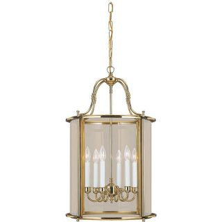 Princeton Six light Hall/ Foyer Polished Brass Light Fixture