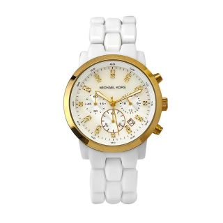 Michael Kors Womens White Acrylic And Stainless Steel Watch