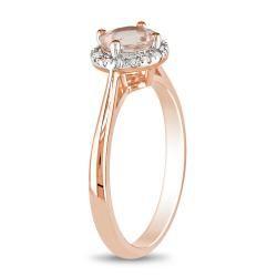 Miadora 10k Pink Gold 4/5ct TGW Morganite and 1/10ct TDW Diamond Ring