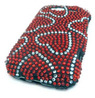 HTC Wildfire S Red Hearts Cute Bling Jewel Gem Case Cover