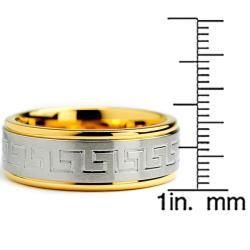 Goldplated Stainless Steel Greek Key Design Ring (8 mm)