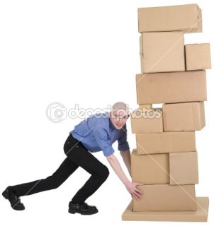 Man pushing pile from cardboard boxes  Stock Photo © pz.axe #1047368