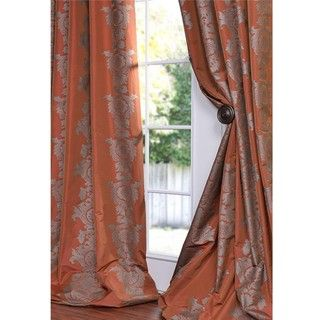Ralston Printed Rust Faux Silk 96 inch Curtain Panel