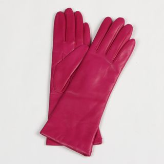 Portolano Womens Hot Pink Cashmere Lined Leather Gloves