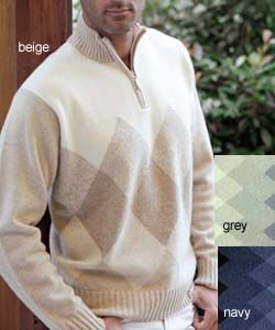 LEVRIERI Luxury Italian Argyle Cashmere Sweater