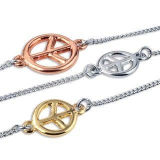 Tri tone Peace Symbol Silvertone Necklace
