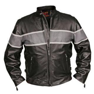 Leather Mens Grey Stripe Motorcycle Racing Jacket