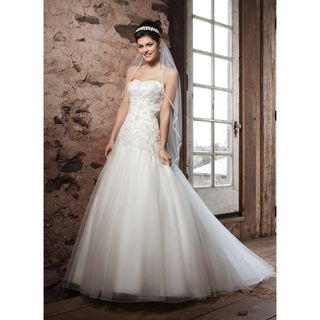 Off white Organza Strapless Wedding Dress