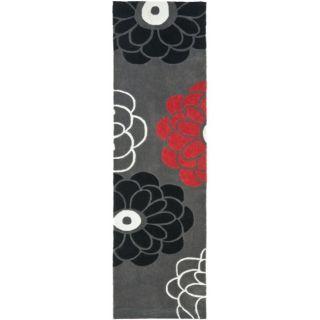 Handmade Avant garde Daisies Dark Grey Polyester Rug (23 x 8